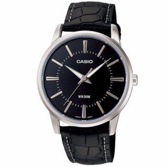 CASIO Standard นาฬิกาข้อมือผู้ชาย สีดำ/เงิน สายหนัง รุ่น MTP-1303L-1AVDF