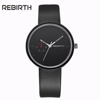 Harga New Fashion Tops Luxury Brand REBIRTH Quartz Movement Relojs Clock Design Genuine Leather watches Men And Women's Wristwatches - intl