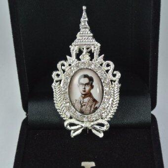 Pearl Jewelry เข็มกลัดในหลวง PK12 ครองราชย์ สีซีเปีย งานช่างไทย
