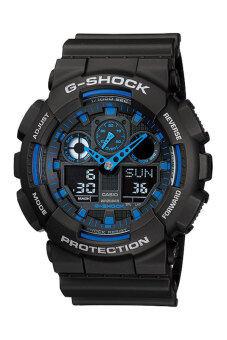 Casio g-shock นาฬิกาข้อมือ รุ่น GA-100-1A2DR (ประกัน CMG) - สีดำ/น้ำเงิน