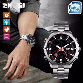 รีวิว SKMEI นาฬิกาข้อมือผู้ชายMen Casual Sport Steel Analog Date Waterproof Business Quartz Watch รุ่น SK-0006 สีดำ/สีเงิน (Black/Silver) ขายถูก