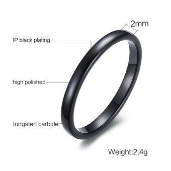 บุรุษสตรีเหล็กทังสเตนแหวน 2มม.ความสะดวกสบายสายทรงสีดำ