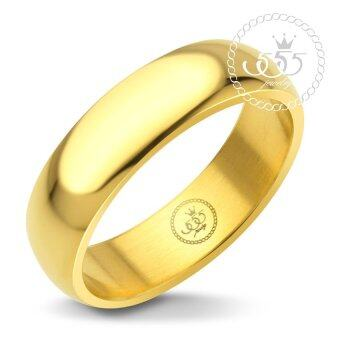 555jewelry แหวนดีไซน์เรียบ สีทอง รุ่น MNC-R161-B - แหวนเกลี้ยง แหวนเรียบ ดีไซน์แบบ unisex สแตนเลสสตีล