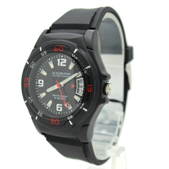 Submariner นาฬิกาข้อมือชาย-หญิง สายยาง ระบบเข็ม มีวันที่ หน้าปัดดำ - SD-C01 (Black)