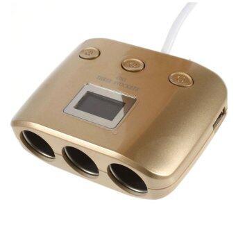 เพิ่มช่องจุดบุหรี่ ในรถยนต์ 3 + 2 USB พร้อม จอ LCD (มีสวิตซ์แยก ควบคุมการทำงาน)