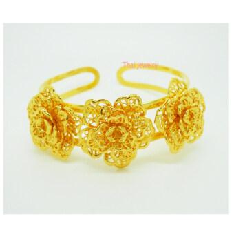 Thai Jewelry กำไลข้อมือทอง ลายดอกไม้ 3 ดอก งานทองชุบไมครอน ชุบเศษทองคำแท้ 96.5% หนัก 1 บาท 2 สลึง