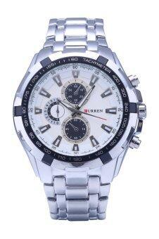Curren ผู้ชายนาฬิกาสเตนเลสรัด 8023 ขาว+สีดำ+เงิน