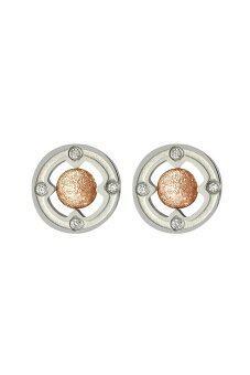 555jewelry ต่างหูแบบก้านเสียบวงกลม ตรงกลางเป็นบอลทรงกลม รุ่น MNC-ER308-C - Pink Gold