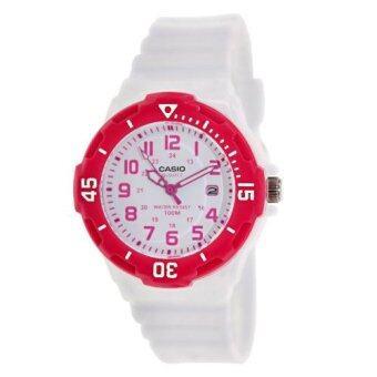 Casio Standard นาฬิกาข้อมือผู้หญิง สีขาว หน้าปัดขอบชมพู สายเรซิน รุ่น LRW-200H-4BVDF