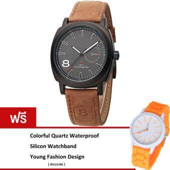MEGA Casual Quartz Waterproof Frosted Watchband Sport Watch หรูหรานาฬิกาข้อมือ สายหนัง กันน้ำ รุ่น MG0012 (Black)(ฟรี Colorful Quartz Waterproof Silicon Strap Young Fashion Watch)(Black)