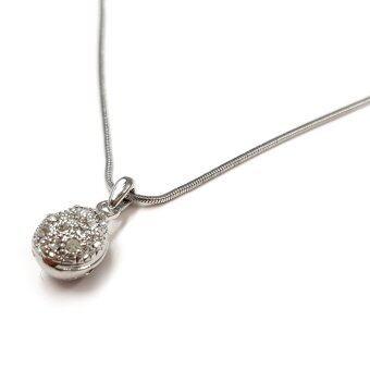 MONO Jewelry สร้อยคอ พร้อมจี้ประดับคริสตัล รุ่นJS031หยดน้ำ(สีเงินกึ่งทองคำขาว)