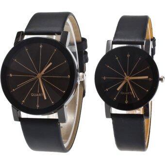 MEGA Quartz Waterproof Slim PU Leather Wristwatch Lover Couple Watch หรูหรานาฬิกาข้อมือ สายหนัง กันน้ำ นาฬิกาคู่ รุ่น MG0014 (Black)