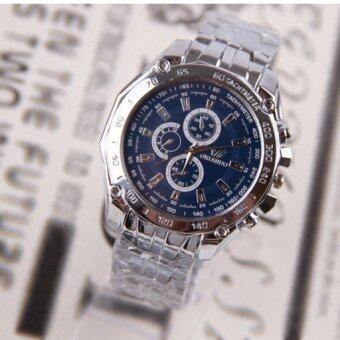 ลักสเตนเลสธุรกิจนาฬิกากันน้ำรัดร่างผลึกสีน้ำเงิน