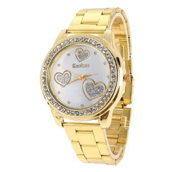 คนขายหัวใจร้อนยี่ห้อทองสแตนเลสแก้วผลึกนาฬิกาข้อมือทอง