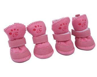 Leegoal , 4 สุนัข Packz หนาวรองเท้ากันลื่นรองเท้าผ้าอุ่นสำหรับสุนัขขนาดเล็ก-สีชมพู (l)
