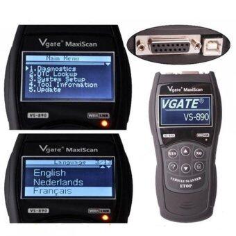 VGATE VS890 OBD2 OBDII อ่านรหัสอัตโนมัติสแกนเนอร์เครื่องมือวินิจฉัยหลายภาษา (สีดำ)
