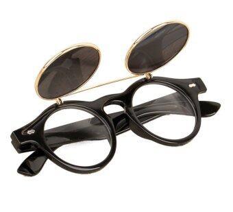 แว่นตาแว่นสตีมพังก์ผีดิบขึ้นมาดีดเรโทรแว่นตากันแดดสีดำ