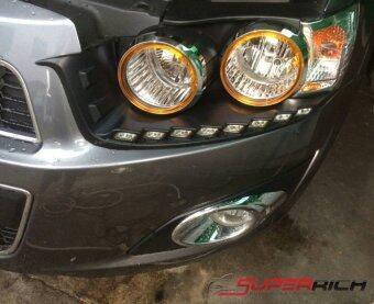 TFP ครอบไฟหน้าโครเมี่ยม แต่งอะคริลิคสีส้ม (Head Lamp Cover) / Chevrolet Sonic (5Drs.)