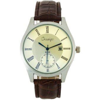 MEGA Quartz Waterproof Leather Watchband Date Calendar Wristwatch Luxuary Style หรูหรานาฬิกาข้อมือ สายหนัง กันน้ำ รุ่น MG0024 (White/Brown)
