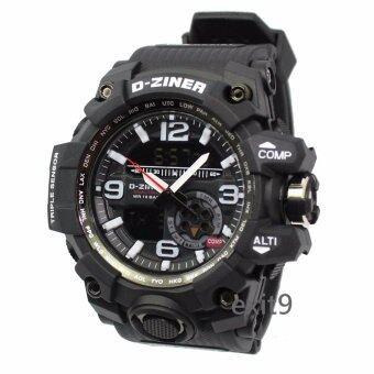 D-ZINER นาฬิกาข้อมือผู้ชาย สายซิลิโคน รุ่นDZ-8119 (ดำ)ขอบขาว