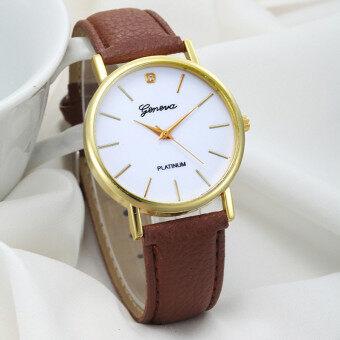 สายหนังหน้าปัดออกแบบคล้ายคลึงคนเจนีวานาฬิกาข้อมือควอตซ์สีน้ำตาล
