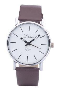 Dalas JD302 วินเทจแฟชั่นการออกแบบหญิง ๆ นาฬิกาข้อมือสายหนังผลึก (สีน้ำตาล)