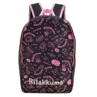 Rilakkuma กระเป๋าเป้ กระเป๋านักเรียนสะพายหลัง (สีดำคาดชมพู)