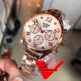 ALBA modern ladies Chronograph นาฬิกาข้อมือหญิง รุ่น AT3A18X1 (PinkGold)