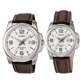 Casio Standard นาฬิกาข้อมือผู้ชาย สีน้ำตาล สายหนัง รุ่น MTP-1314L-7AVDF+Casio Standard นาฬิกาข้อมือผู้หญิง สีน้ำตาล สายหนัง รุ่น LTP-1314L-7AVDF