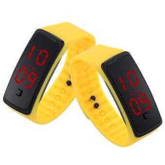 PA-HY LED นาฬิกาแฟชั่นกีฬาบุคลิกภาพรัดซิลิโคนสีเหลือง 802111 (จัดส่งฟรี)