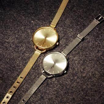 นาฬิกาข้อมือคลาสสิกผู้หญิง ควอทซ์สแตนเลสอะนาล็อกนาฬิกา (สีทอง)