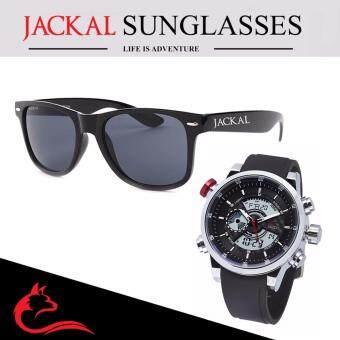 แว่นกันแดด JACKAL รุ่น Traveller JS001 สีดำ & นาฬิกาข้อมือชาย JACKAL รุ่น Marble Fox J003 สีเงิน