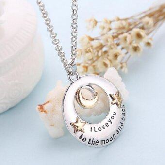 Harga I Love You To The Moon and Back Moon and Star Pendant Necklace Mother Silver