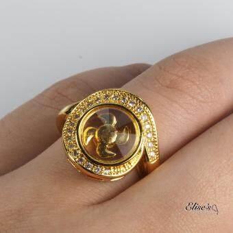 Elise's แหวนกังหันประดับเพชรล้อม ทรงดวงตาเทพ ชุบทองไมครอน 18เค