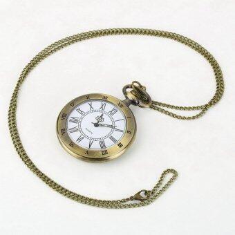 โอ้บรอนซ์โบราณจี้สร้อยคอโซ่เลขโรมันกระเป๋านาฬิกาควอทซ์