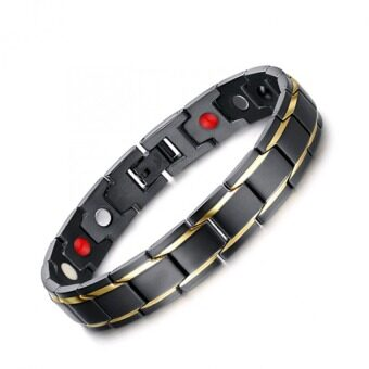 Harga JOY Men's black gold and magnetic health bracelets - intl
