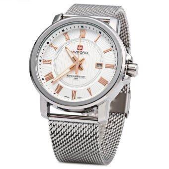 นาฬิกาควอทซ์ 9052 Naviforce ชายสายสเตนเลสแสดงผลวันที่ 3