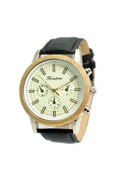 Kratree นาฬิกาข้อมือผู้ชาย สีดำ สายหนัง รุ่น หน้าปัดขาวขอบทอง