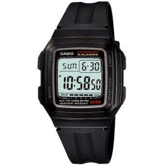 Casio Standard นาฬิกาข้อมือผู้ชาย สีดำ สายเรซิน รุ่น F-201WA-1ADF