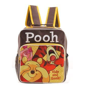 Disney Winnie and the Pooh กระเป๋าเป้ กระเป๋านักเรียน กระเป๋าสะพายหลัง (สีดำคาดเหลือง)