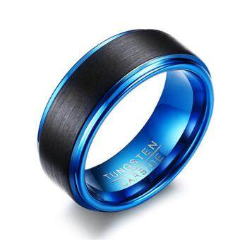 Harga 8mm Black Matte Tungsten Ring Comfort Fit Blue Plated Wedding Band Wedding Ring for Men - intl