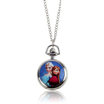 Harga Frozen Character Classic Fashion Quartz Pocket Watch Necklace Kids Gift 2