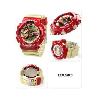 CASIO G-SHOCK รุ่น GA-110CS-4ADR (CMG) นาฬิกาข้อมือ สายเรซิ่น สีแดง ทอง IRONMAN