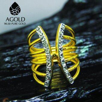 AGOLD ST34 แหวนแฟชั่นสองสี ทองแท้ 96.50% น้ำหนัก 2 สลึง เบอร์ 55 ฟรีกล่องเครื่องประดับ