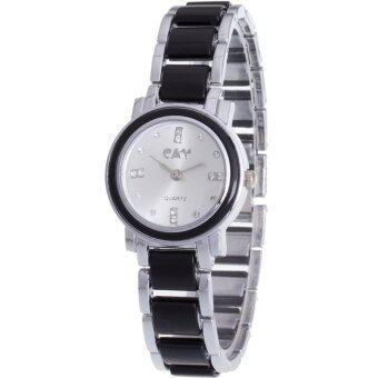 MEGA Quartz Waterproof Fashion Wristwatch หรูหราแฟชั่นนาฬิกาข้อมือผู้หญิง เทคโนโลยีเซรามิก รุ่น MG0009 (Black/Silver)