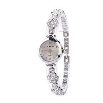 แฟชั่นนาฬิกานาฬิกาข้อมือผู้หญิงแต่งตัว Quarzt เงิน