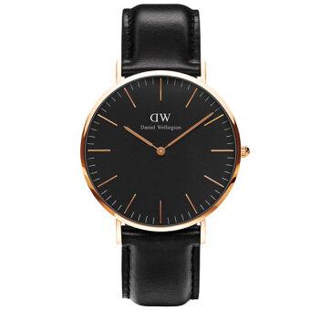 Daniel Wellington DW00100127 Classic Sheffield Horloge 40mm นาฬิกาข้อมือ แฟชั่น ผู้ชาย ผู้หญิง สายหนัง สีดำ Unisex Watch - Black