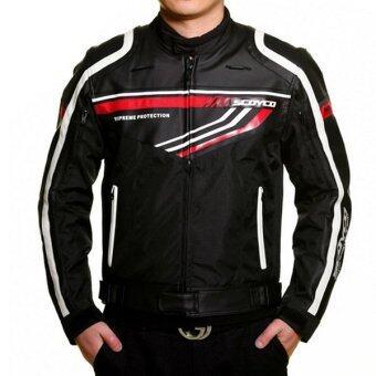 SCOYCO เสื้อแจ๊คเก็ตมอเตอร์ไซค์ JK-37 (พร้อมกาดอ่อน 7 จุด) สีดำ/แดง