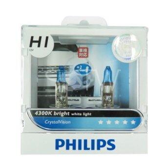 Philips หลอดไฟ หน้า รถยนต์ H1 รุ่น Crystal Vision white 4300K สีขาว สะดุดตา