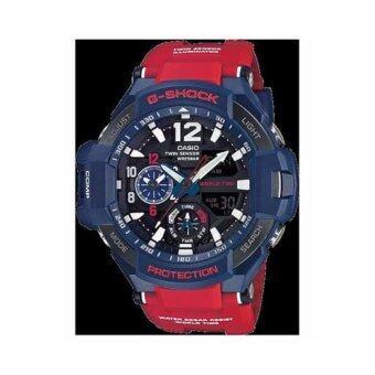 Casio G-Shock นาฬิกาข้อมือผู้ชาย สีน้ำเงิน/แดง สายเรซิ่น รุ่น GA-1100-2A ประกันCMG